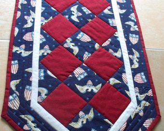 Patriotic Table Runner - Red White and Blue - Quilted Table runner - Americana - 14 x 33