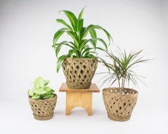 Woven Planters (Set of 3) / Bohemian Decor / Vintage Planter Pots / Indoor Planter Pots / Bohemian Plant Pots / Mid Century Planter Pot
