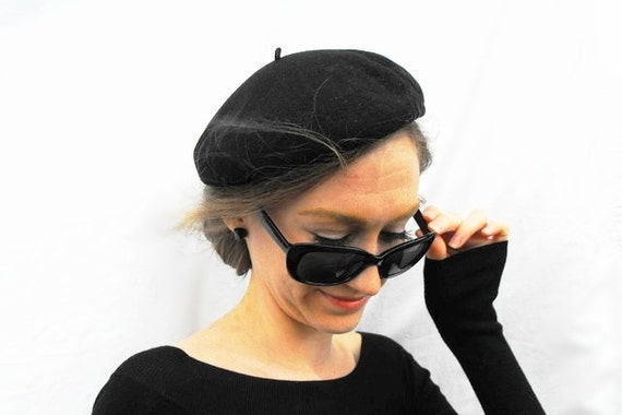 1950s Beatnik Black Beret French Fashion Genuine Basque 100% Wool Made in France - Parisian Beat Generation Millinery Traditional Paris Hat