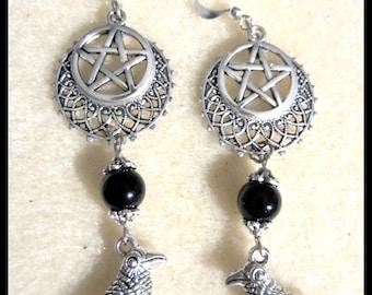 Raven Crescent Pentacle Earrings, Black Onyx Gemstone