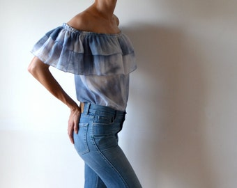 Off the shoulder top / ruffle top / off the shoulder ruffle blouse / shibori - ish top / peasant blouse / peasant top