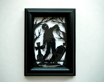 3D Paper Cut Zombie Shadowbox. In Black and White