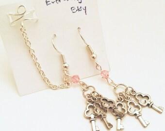 Chain Ear Cuff, Keys Ear Cuff Set, Silver Ear Cuff, Pink Earrings, Silver Plated Earrings,  Cute Earrings, Elegant Earrings, Dainty Earrings