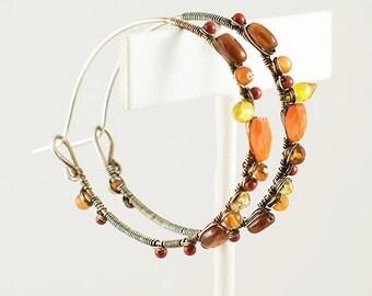 Gemstone Hoop Earrings, Sterling Silver, 14k Gold Filled, Carnelian, Yellow Zircon, Amber, Autum Colors, Handcrafted Earrings