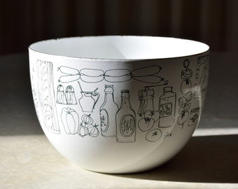 Finel Arabia of Finlan enamel bowl designed by Kaj Franck and decorated by Seppo Mallat with food graphics, very dark green on white
