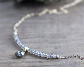 Beaded Labradorite & Pyrite Gold Filled Necklace, Gold Grey Gemstone Necklace, Natural Faceted Gemstone Bead Layering Necklace, Pyrite Stone