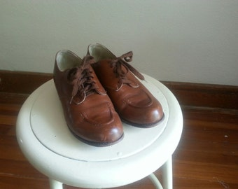 humble shoes brown laces made in usa 5 1/2 mens 7 1/2 womens theater play saleman basic manmade