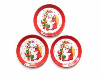 Kitsch Christmas Coasters, Vintage Kitschy Santa Coasters
