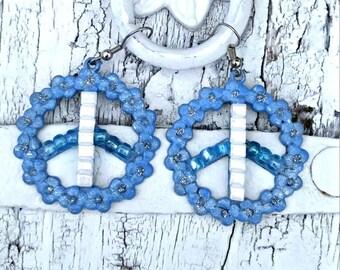 Blue Peace Sign Earrings, PEACE EARRINGS, PeAcE Symbol, PeAce Jewelry, Hippie EaRRiNgs