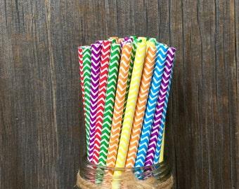 Chevron Paper Straws, 150 Rainbow Straws, Birthday Straws, Wedding Supply, Baby Shower, Free Shipping