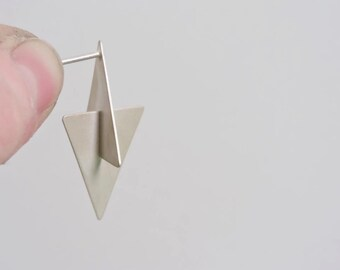 Sterling Silver Earrings // Hand Forged Earrings // Geometric Earrings // Silver Earrings // Triangular Earrings // Minimal Earrings