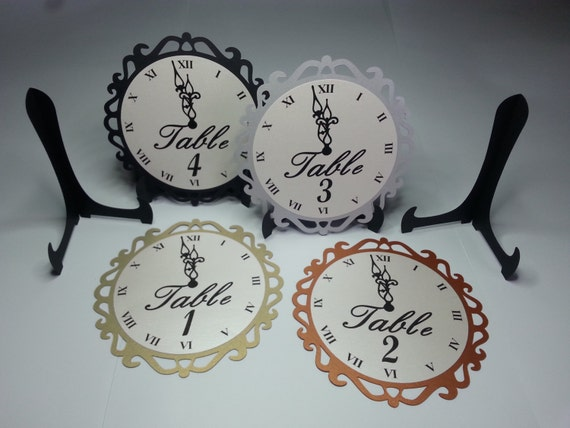 New year 39 s eve wedding clock table numbers by weddingtrousseau for Table 52 new years eve