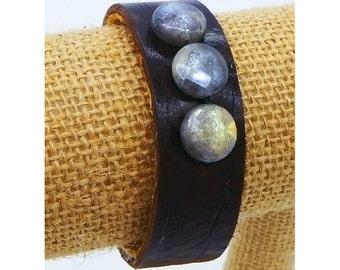 Labradorite and leather wrist cuff