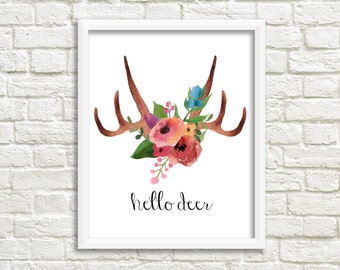 "Floral antlers print, ""hello deer"" digital print of hand painted watercolor antlers, deer antlers art print, INSTANT DOWNLOAD (0025)"