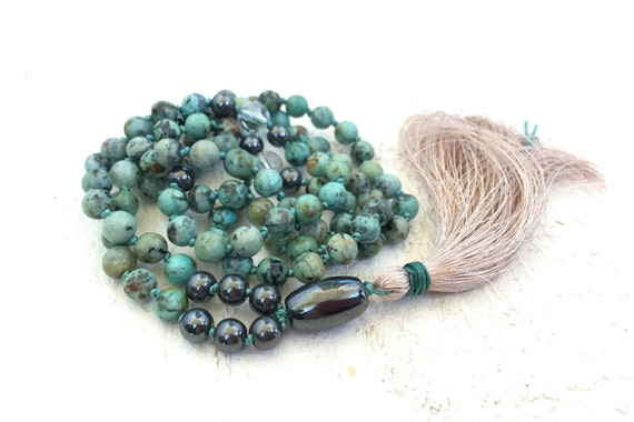 Mala For Growth, African Turquoise Mala Beads, Hematite & Clear Quartz Mala Necklace, Hand Knotted 108 Bead Mala, Meditation Beads