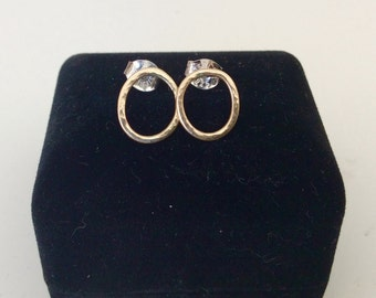10K gold earrings - solid gold hammered open circles on sterling silver posts  - minimalist jewelry
