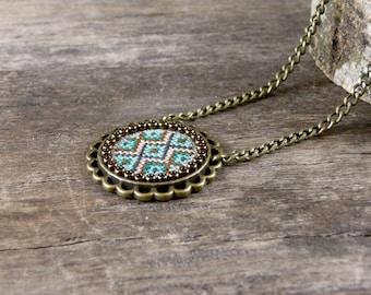 Cross stitch necklace, Emerald mint firebrick embroidered pendant, Embroidered jewelry, Cross stitch jewelry, Textile geometric necklace