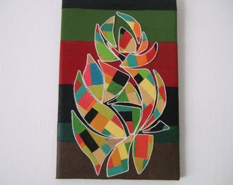 Floral Still Life - Original mixed media mosaic wall art