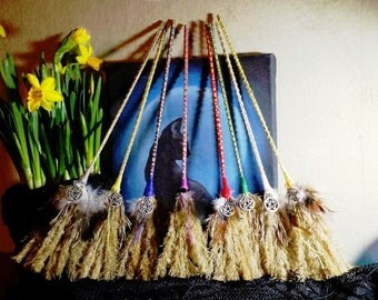 Small magick witches broom besom for cleansing gift ritual altar tool witch wiccan pagan witchcraft pentacle mabon samhain halloween