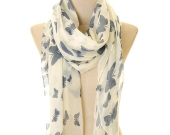 Butterfly Infinity Scarf   Butterfly Scarf   White Scarf   Summer Scarf   Spring Scarf   Boho Scarf   Bohemian Scarf (S-28)
