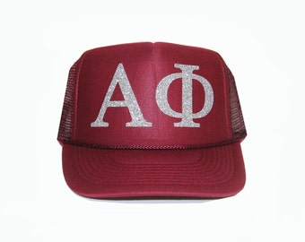 Alpha Phi Trucker Hat, A Phi Trucker Hat, Greek Letter Glitter Trucker Hat, Sorority Letter Cap, Greek Trucker, Sorority Trucker, alphaphi