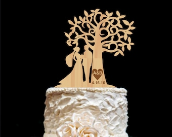 Rustic Wedding Cake Topper-  Personalized Monogram Cake Topper - Mr and Mrs -
