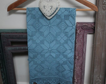 hand-made large blue doily