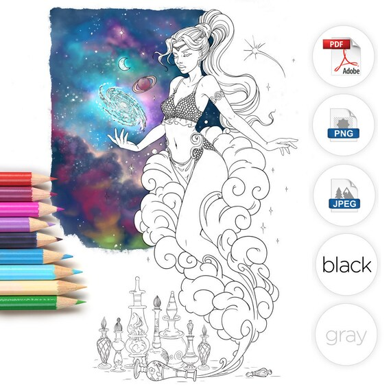Adult Coloring Page Genie Line Art