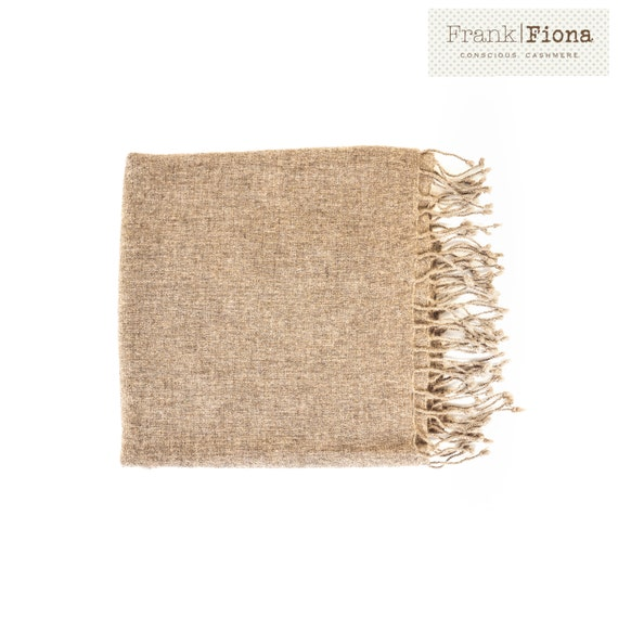 100% Pure Organic Cashmere Shawl, Grade A Mongolian Cashmere, Christmas present, 28 x 80 inches, Light Brown, Eco Friendly, Knitted scarf,3F