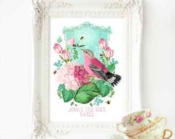 You're the Bee's knees inspirational bird art print, A4 giclee