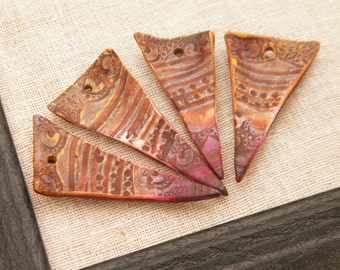 ONLY ONES Burnt Umber and Rose - Batik Shards - hand painted rustic pennant triangle shard pendants boho chic polymer clay (ready to ship)
