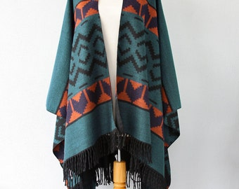 Teal blanket wrap Long fringe poncho Southwestern Winter fashion Ethnic clothing Aztec cape Oversized Large shawl Chunky thick wrap