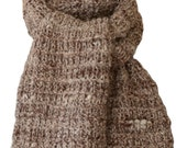 Hand Knit Scarf - Natural Brown Rough-Spun Alpaca Fence Rib