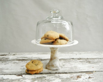 Marble Pedestal Stand With Glass Dome.