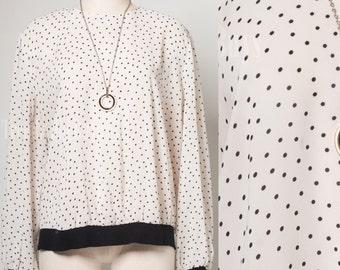 Vintage Polka Dot top, Vintage white top, 80s top, Sheer white top, White blouse - 1XL/2XL