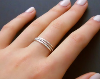 Sterling Silver Ring Set, Set Of 3 Silver Rings, Hammered Ring, Round Ring, Beaded Ring, Stacking Silver Ring Set, Sterling Silver Rings
