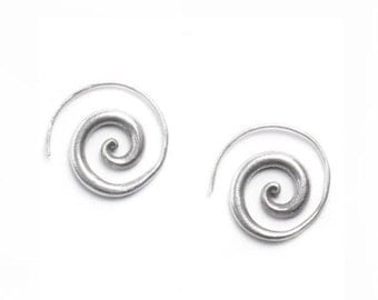 Handmade Sterling Silver Spiral Earrings, Simple Rustic Tribal Thick Spiral Hoop fake Gauges Earrings, Chunky Swirl Spiraling Coil earrings