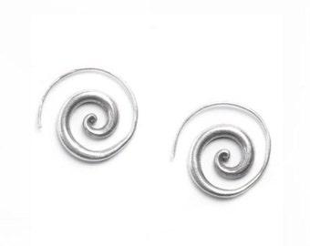 Handmade Sterling Silver Spiral Earrings,Simple Rustic Tribal Thick Spiral Hoop fake Gauges Earrings, chunky Swirl Spiraling Coil earrings,