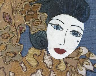 Figurative art exotic woman female face - whimsical woman face, feminine art floral pretty woman textile female art - Rebecca