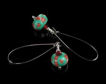 Long Modern Christmas Dangle Earrings - Polymer Clay Earrings - Christmas Art Jewelry - Holiday Earrings - Unique Gift - Drop Earrings
