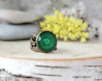 Green Kaleidoscope Ring, Adjustable Ring, Antique Bronze Ring, Mandala Ring, Glass Dome Ring