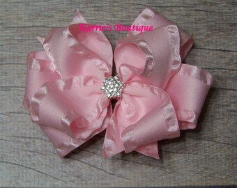 Pink Double Ruffle Ribbon Bow / Over the Top Hair Bow / Flower Girl / Coming home/Photo Prop/ Pageant/ Infant / Baby / Girl/ Infant/ Toddler