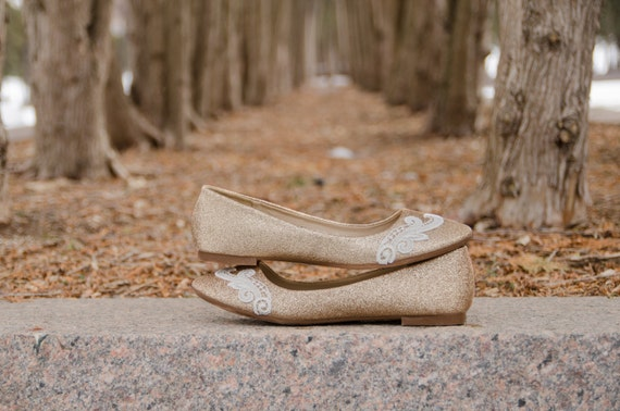 Gold Flats with Ivory Lace