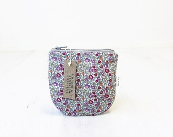 Floral Zip pouch, Print Coin purse, Small Gadget bag, Credit card case
