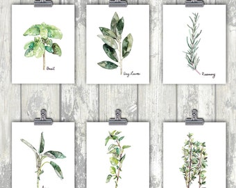 Herb Print Set of 6 - 8x10 Watercolor Prints, Herb Watercolors, Kitchen Decor, Botanical Print, Print Set, Herb Prints, Herb Painting, Herbs