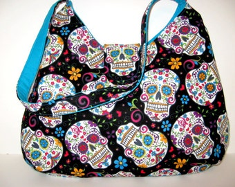 SUGAR SKULL HOBO Bag, Hobo Purse, Day Of The Dead Bag, Shoulder Bags, Skull Handbags, Handmade, Made To Order