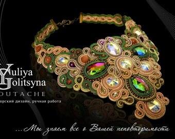Soutache Statement Necklace Exclusive Swarovski Colorful Choker necklace Gold tone soutache jewelry Fine Luxury jewelry Unique necklace