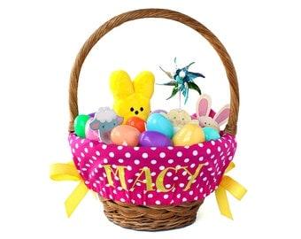 Personalized Easter Basket Liner, Hot Pink Big Dots, Basket not included, Monogrammed Easter basket liner, Custom basket liner with name