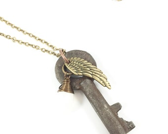 Antique Key Necklace, Vintage Key Necklace, Rustic Necklace, Bohemian Jewelry, Spiritual Jewelry, Angel Wing Jewelry, One Of A Kind Gifts
