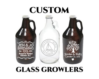 Custom Beer Growler 64oz- Personalized Growler Engraved- Clear Glass or Amber